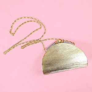 Vintage Rodo metal gold clutch w/ crossbody chain